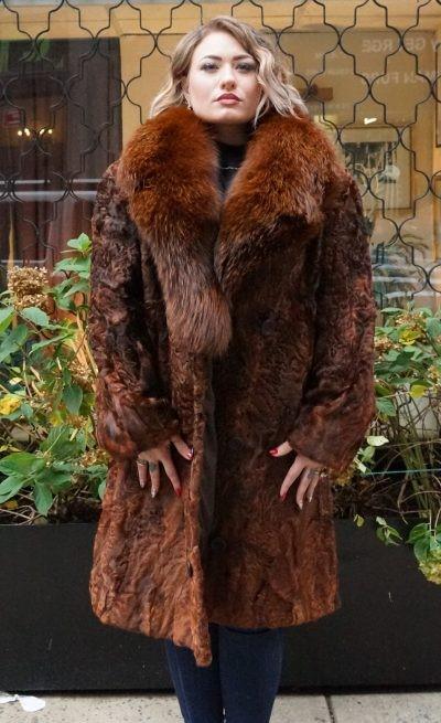 Cognac Persian Lamb stroller Fox Collar