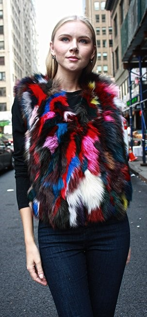 Multi-Colored Fox Fur Vest