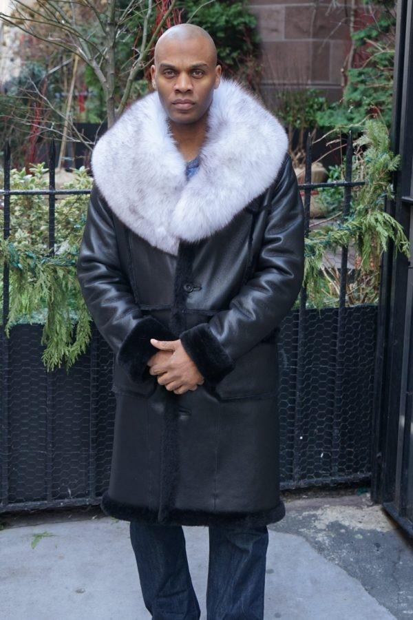 Black Shearling Coat Blue Fox Collar