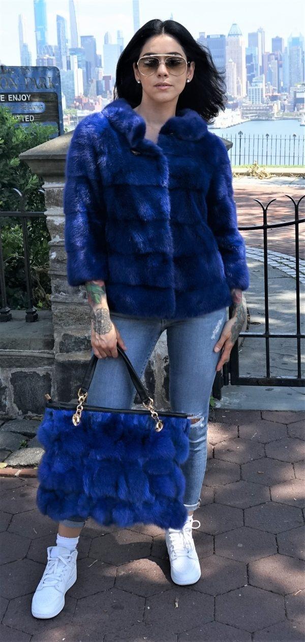 Royal Blue Mink Jacket w Fox Bag 8783