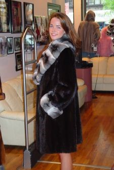 Blackglama Mink Coat Chinchilla Cross Cut Shawl Collar