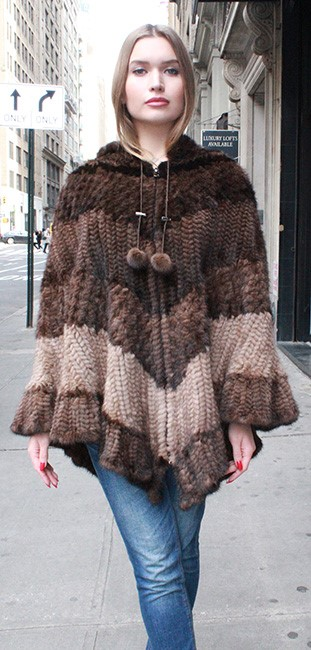 Multi Toned Knit Mink Fur Poncho Hood