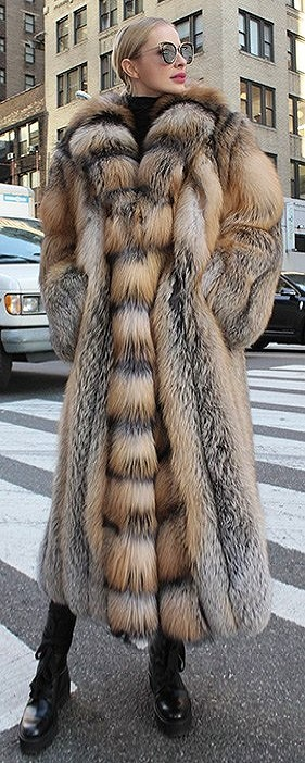 Full-Length Cross Fox Fur Coat Tuxedo Cross Fox Fur