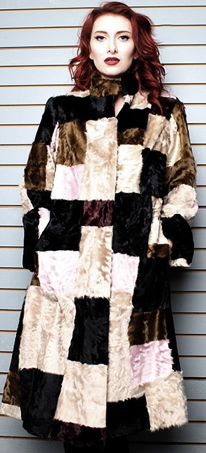 Multi-Colored Old School Swakara Fur Coat