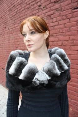 Black Sheared Mink Chinchilla Trim Capelet