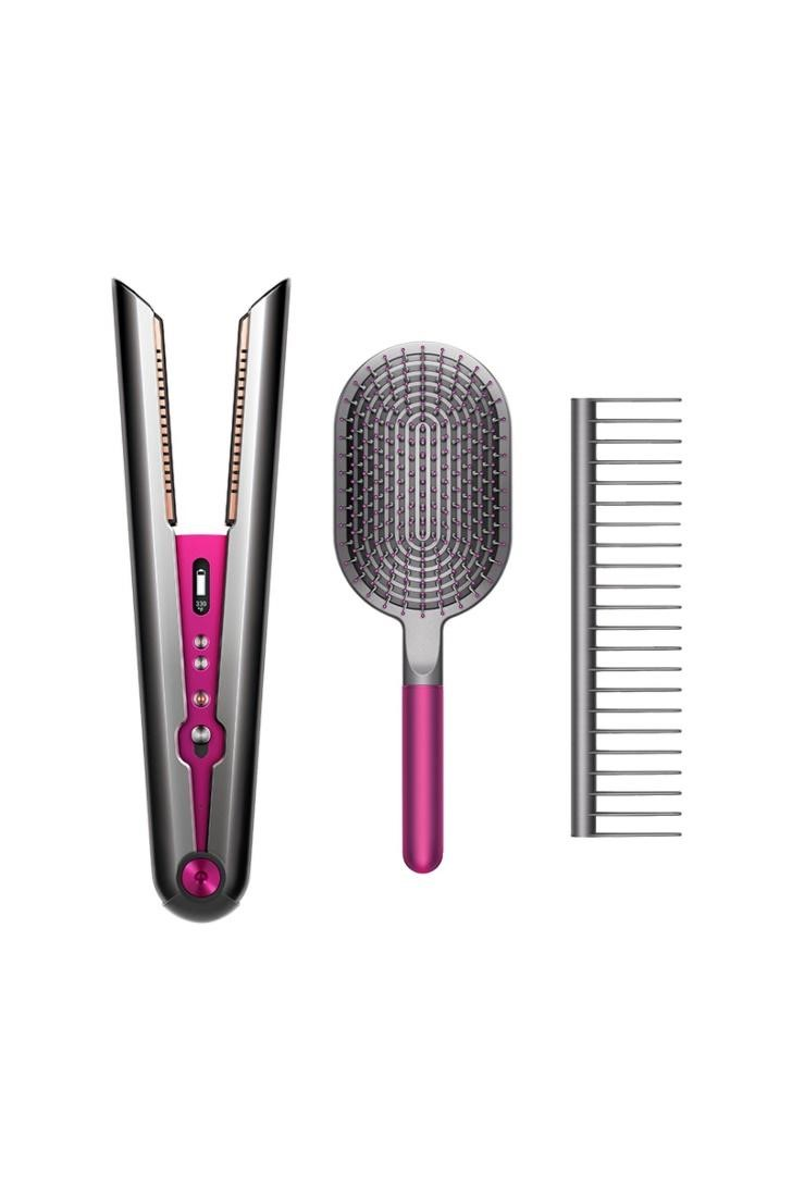 A straightener, comb and hairbrush
