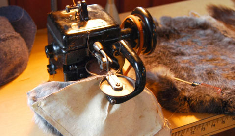 Fur being fixed at Marc Kaufman's workshop