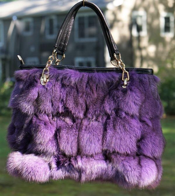 Purple Fox Fur Bag