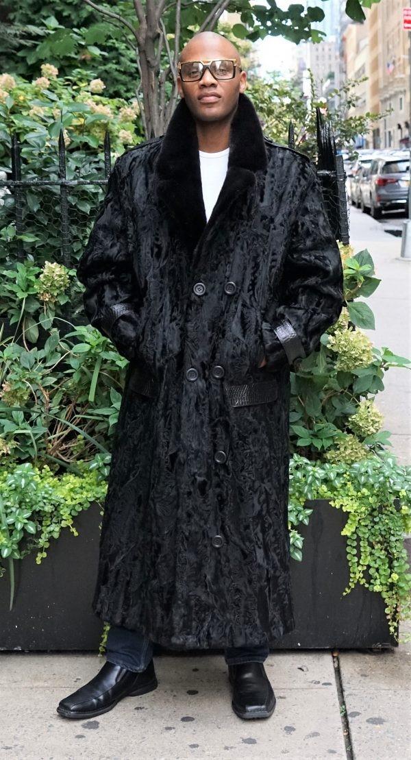 Men's Classic Black Persian Coat Mink Collar 76543
