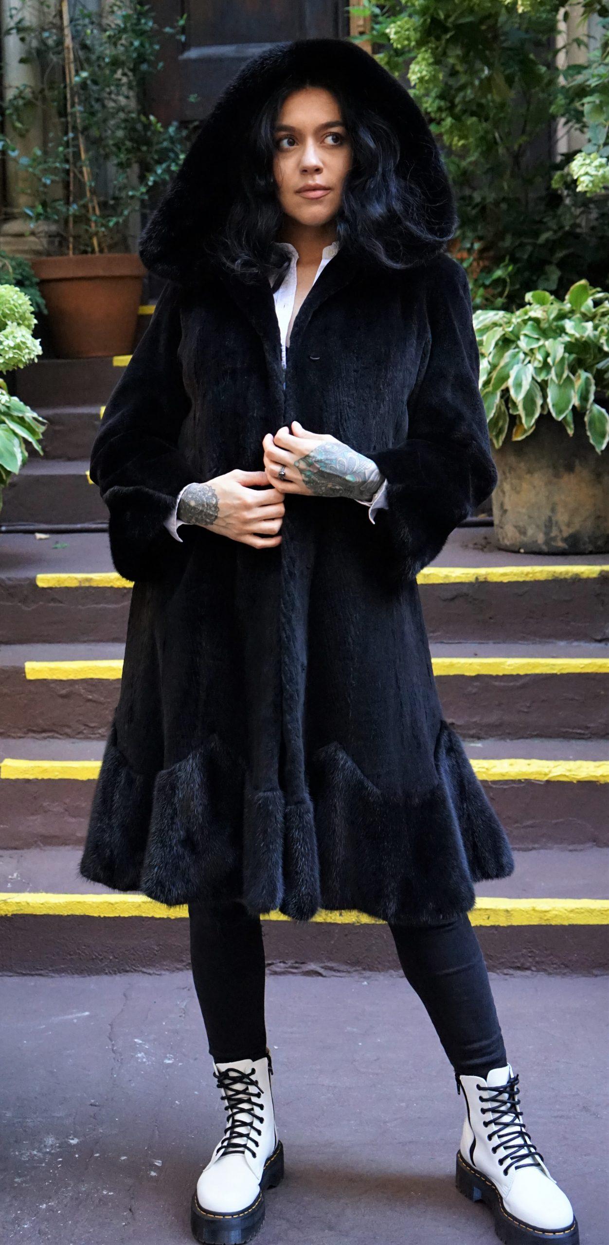 Black Sheared Mink Stroller Long Hair Mink Trim