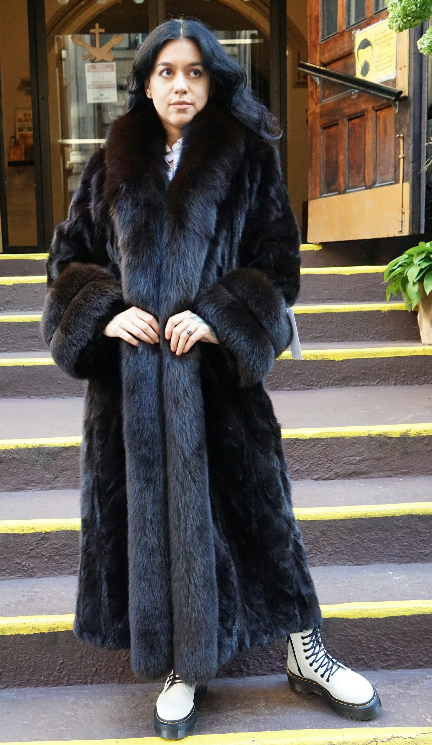 Mahogany Mink Section Coat Fox Tuxedo and Cuffs