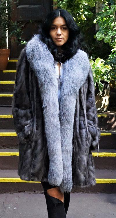 Blue Iris Mink Section Stroller Fox Tuxedo