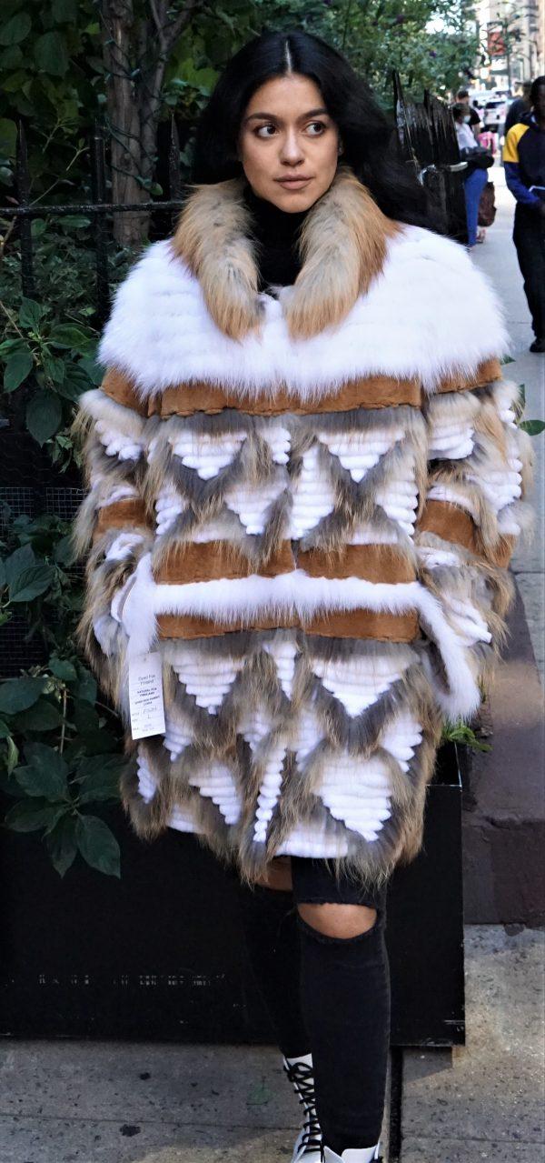 Multi Colored White Rex Fur Stroller
