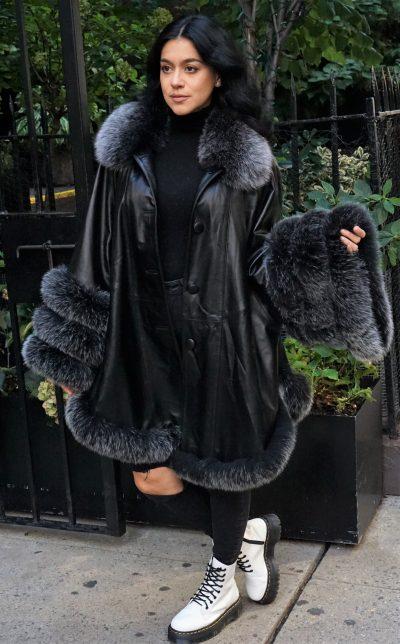 Black Leather Stroller Gray Flannel Fox Trim