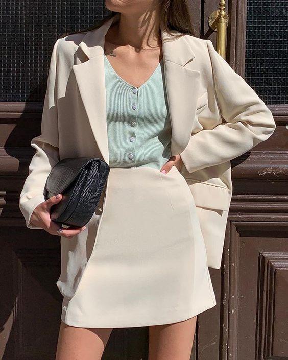 Chic Crème Skirt Suit