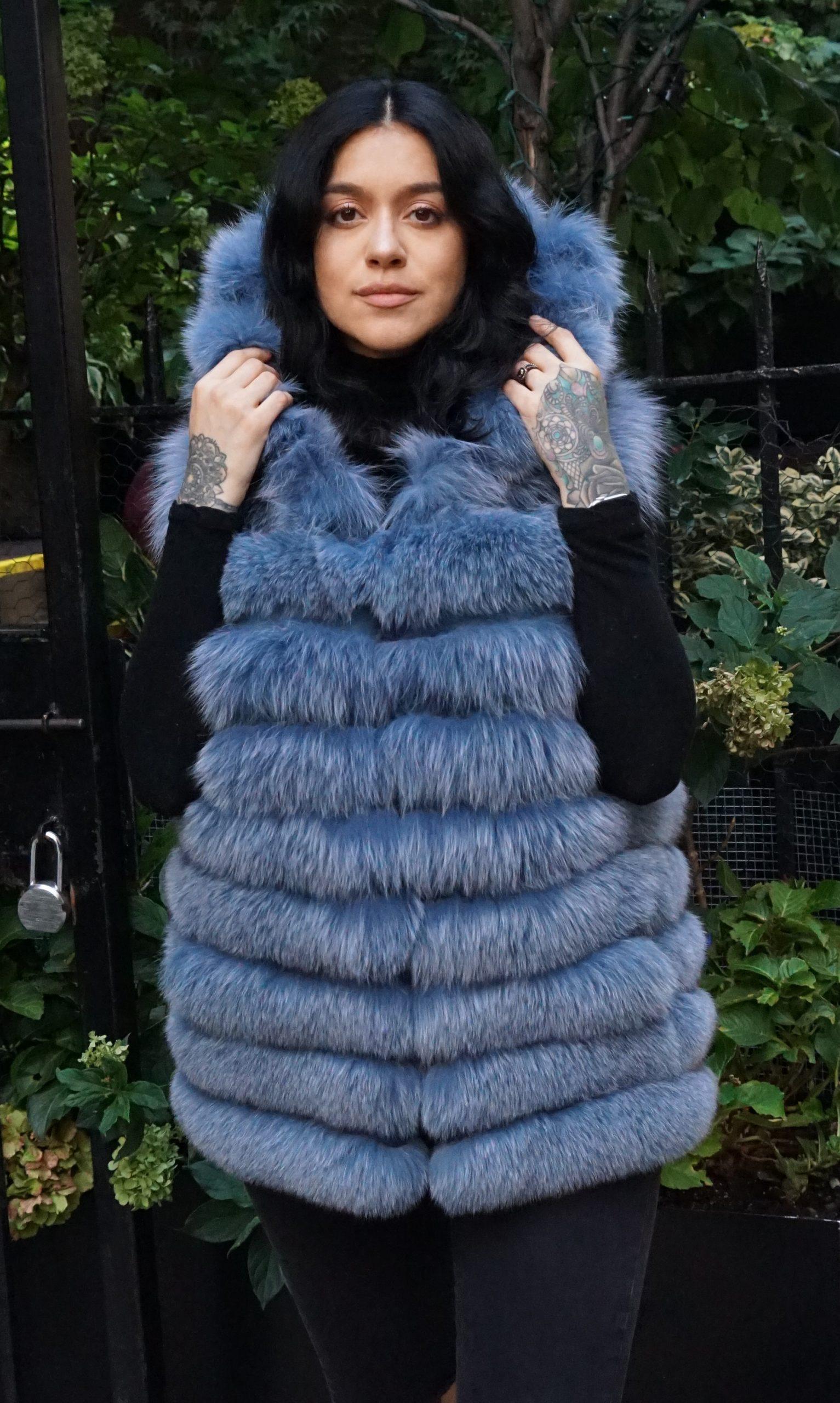 Denim Blue Fox Vest
