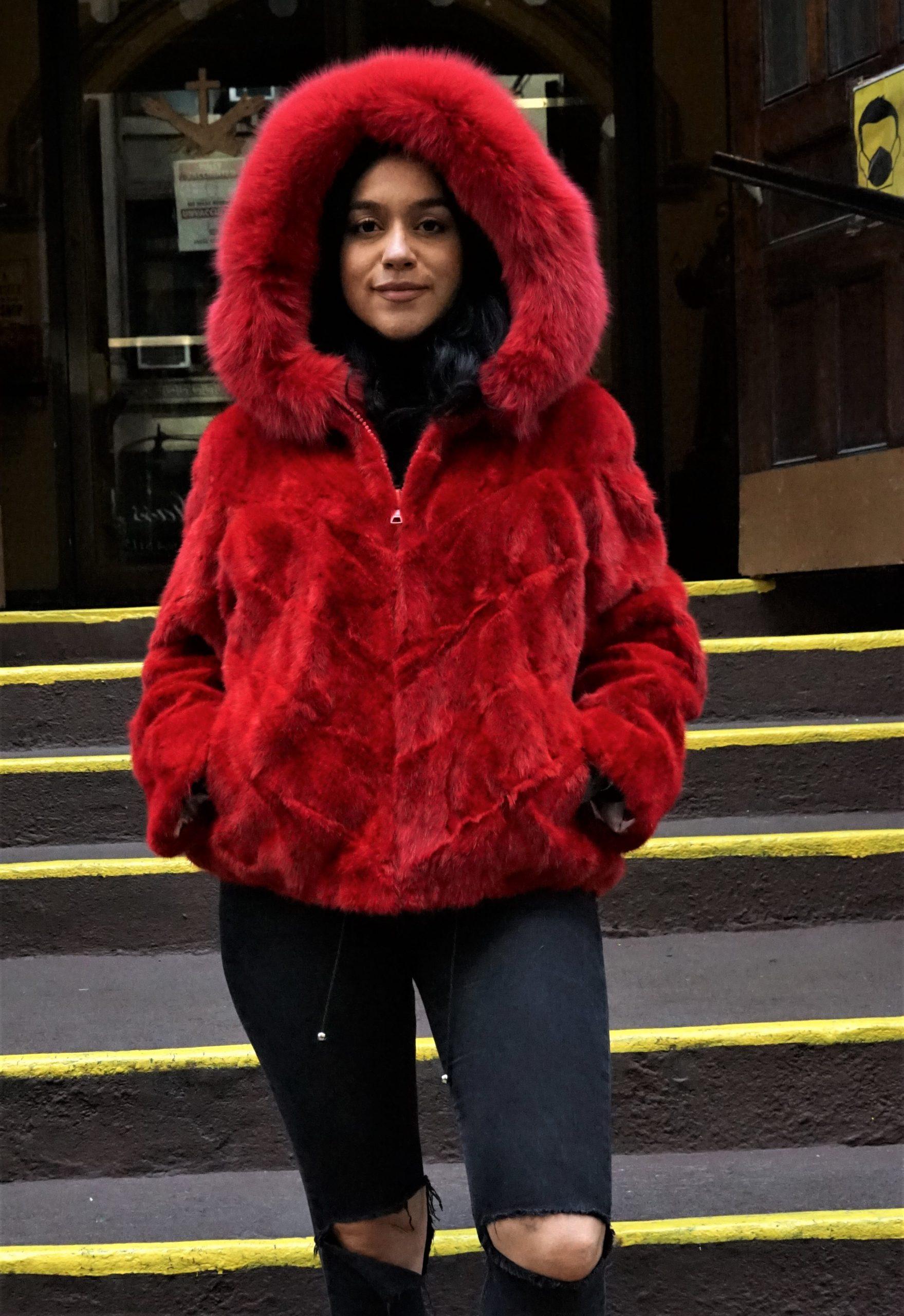 Red Mink Bomber Jacket Hood Fox Trim